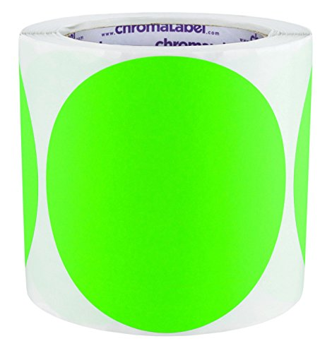 ChromaLabel 4 inch Color-Code Dot Labels   250/Roll (Fluorescent Green)