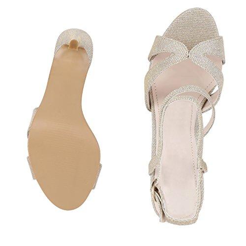 napoli-fashion - Sandalias de Punta Descubierta Mujer dorado