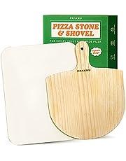Pizzasten och pizzapuff i ett set med 2 st - Stenplatta fyrkantig för ugn och grill - Pizzaspade av furu