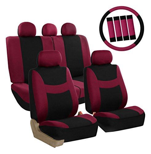 (FH Group FB030BURGUNDY-COMBO Seat Cover Combo Set with Steering Wheel Cover and Seat Belt Pad (Airbag Compatible and Split Bench Burgundy))