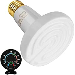 150W Ceramic Heat Emitter with Thermo-Hygrometer, Infrared Reptile Heat Bulb No Light Emitted No Harm Heater Lamp for Lizard Snake Coop Chicken Tortoise Aquarium Pet Brooder, White