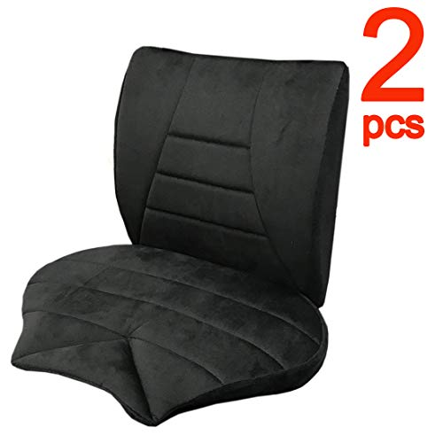 Big Hippo Orthopedic Seat Cushion and Lumbar Support Pillow for Car, Truck, Office Chair and Wheelchair - Car Seat Cushion for Lower Back, Tailbone, Hip, Coccyx & Sciatica Pain Relief 2PC (Black)