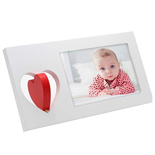 Picture Love Heart - Afuly White Picture Frame 4x6 with Rotating Red Heart Family Love Photo Frames for Desk Christmas Gifts