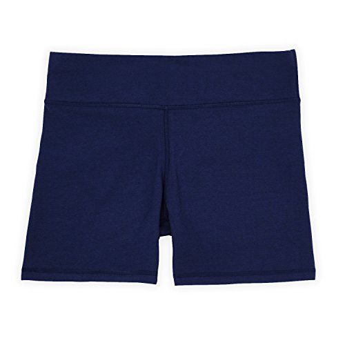 Annelle Megan Womens Bike Short, Gym & Yoga Short, Wide Waistband, Flexible Movement, Navy, M