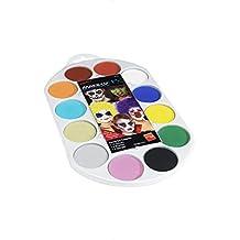Smiffy's Men's Face Paint Pallet Brush And Sponge 12 Colours