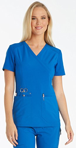 Cherokee Iflex by Women's Mock Wrap Knit Back Panels Solid Scrub Top X-Small Teal (Cherokee Two Pocket Tunic)