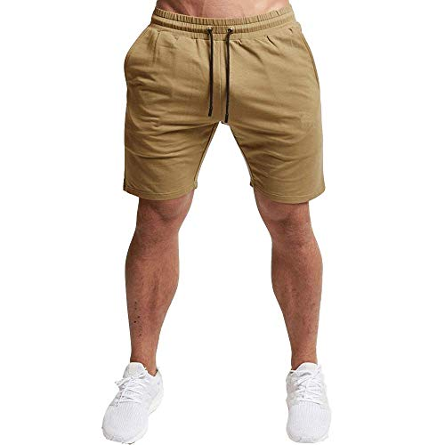 EVERWORTH Men's Casual Training Shorts Gym Workout Fitness Short Bodybuilding Running Jogging Short Pants Kahki M Tag XL (Joggers Shorts)