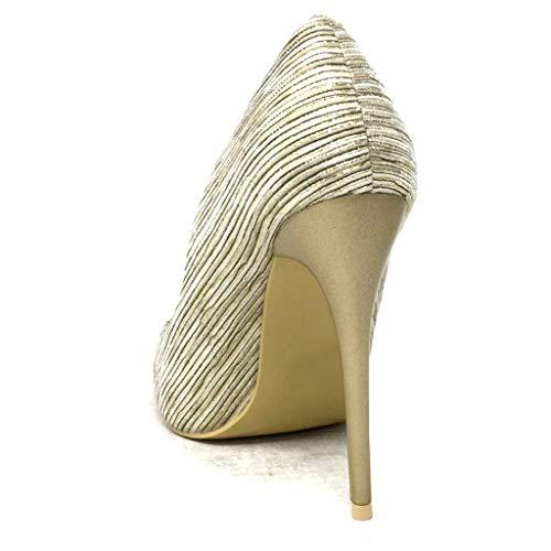 Glitter Sexy Tacco Motivo Da Cm Lucide Moda Alto A Donna Angkorly Strisce Decollete Sera Con Scarpe 11 Stiletto Oro xqx8C61