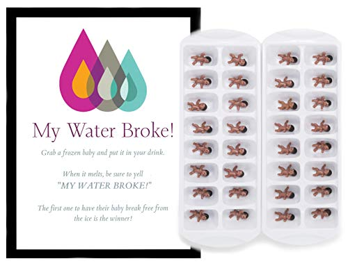 My Water Broke Baby Shower Ice Cube Game For 32 Guests African American With Mini Babies for Ice Cubes ()