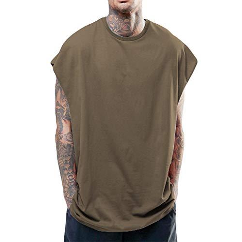 ONLY TOP Men's Hipster Hip Hop Sleeveless Sweatshirt Hoodie Side Zip Longline Tank Top Muscle Shirts Brown