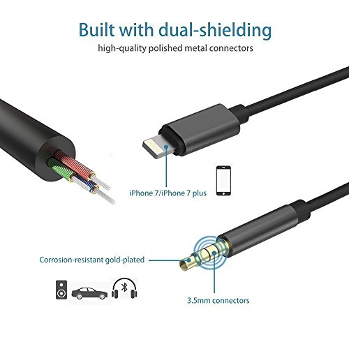 Lightning to 3.5mm Male Aux Stereo Audio Cable, Jackiey Car Aux Cable for iPhone X/ 8/ 7 / 7 Plus Premium Headphone Adapter to Car Stereo iOS 10.3 Compatible (Black01)