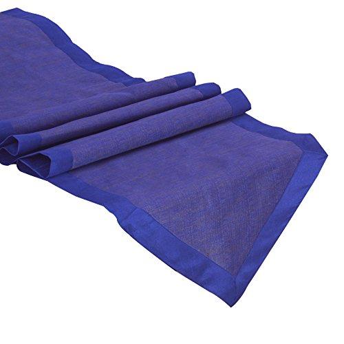 The White Petals Royal Blue Kitchen Table Runner (Royal Blue Border, V-End, 14x80 inches) (Royal Blue End)