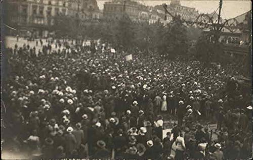 Crowd of People in Square Europe Events Original Vintage Postcard from CardCow Vintage Postcards