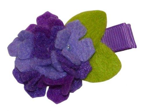 Hydrangea Ribbon (BePe Baby Baby Girl's Hand Made Barrette Hair Clip - Felt Flower Hydrangea - Purple)