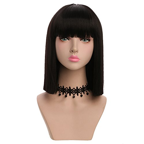Yuehong Women's Medium Black Straight Hair Wig Color Bob Wig Synthetic Fashion -