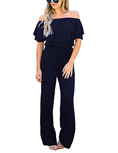 Lookbook Store Women's Sexy Off Shoulder High Waisted Ruffled Long Wide Leg Pants Navy Jumpsuits Rompers Size L -