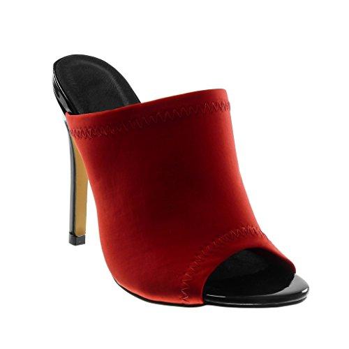 Finition Aiguille Talon Stiletto Chaussure Haut Rouge Escarpin Mule Femme on Surpiqûres Coutures toe Angkorly Slip Cm Mode 12 Peep HvqCxwwRA