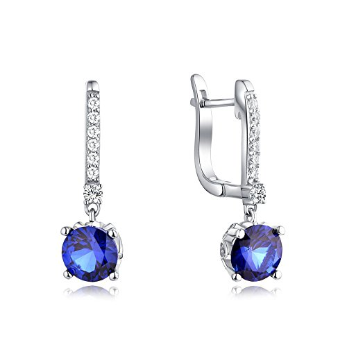 JO WISDOM 925 Sterling Silver Hoop Earrings with Cubic Zirconia Created Blue Sapphire Drop&Dangle Jewelry for Women,Girls by JO WISDOM