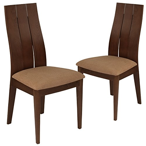 Flash Furniture 2 Pk. Hadley Walnut Finish Wood Dining Chair with Wide Slat Back and Brown Fabric Seat