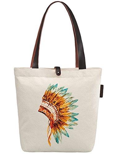 So'each Women's Indian Feather Headgear Canvas Handbag Tote Shoulder Bag