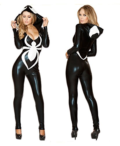 [Patent Leather Spider Women Costume Suit, Sexy Halloween Party Spiderman Jumpsuit] (Black Suit Spiderman Costume)