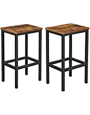 VASAGLE ALINRU barkruk set van 2, barstoelen, keukenstoelen in industrieel ontwerp, met voetsteun, 40 x 30 x 65 cm, voor keuken, woonkamer, feestkelder, vintage bruin-zwart LBC65X