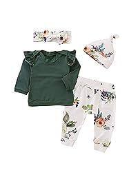 WOCACHI Toddler Baby Girls Clothes, 4PCS Toddler Baby Girls Floral Print Top Pants Cap Headband Ruffles Outfits Set