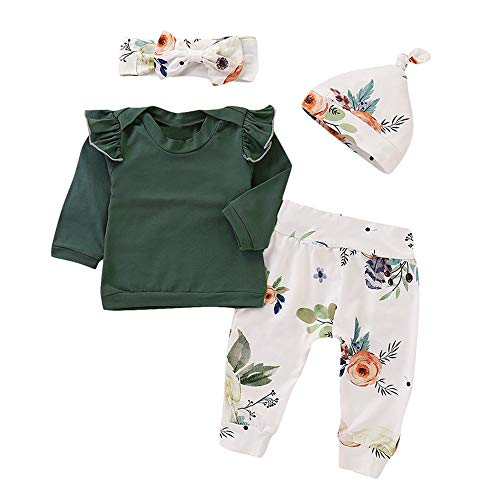 dler Baby Girls Floral Print Top Pants Cap Headband Ruffles Outfits Set ()