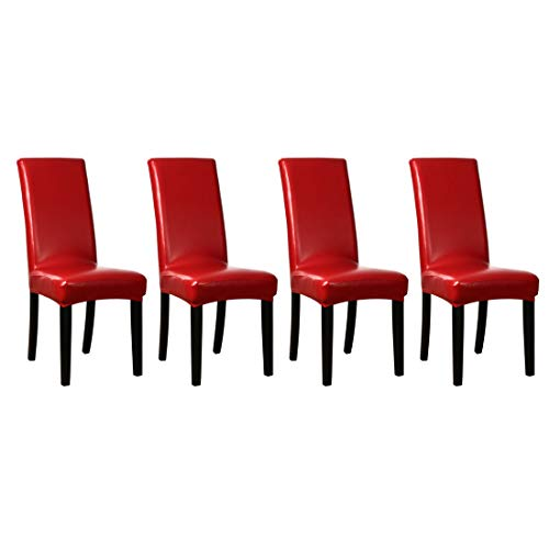 uxcell Stretch Artificial Leather Shorty Dining Room Chair Covers Faux PU Fabric Slipcovers Red 4PCS