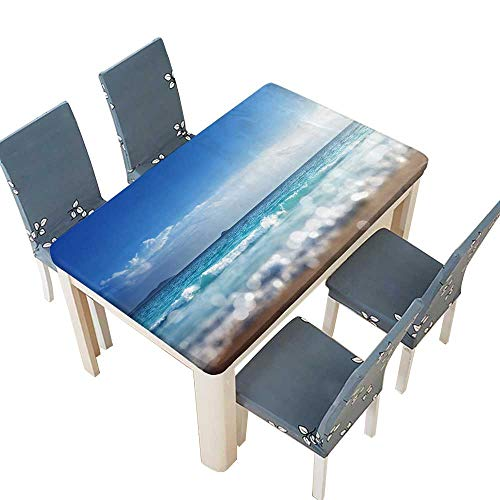 PINAFORE Decorative Tablecloth Beach in Sunset time,tilt Shift Soft Effect Table W61 x L100 INCH (Elastic Edge)