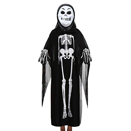 Kids Halloween Costume, Toddler Boys Girls Halloween Cosplay Costume Cloak+Mask+Gloves Outfits Set (Free Size, Black C) ()
