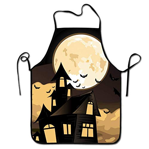 Apron Waterdrop Resistant - Party BBQ Cooking Kitchen Aprons for Women Men Adults Chef- Halloween Sky Moon Castle