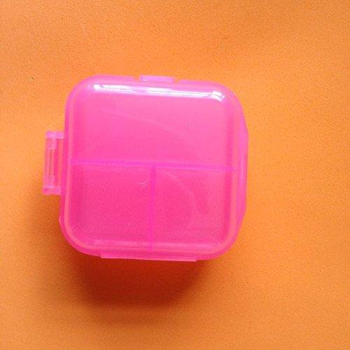 Price comparison product image Kathy Mall 1pc Travel Portable 6 Grid Transparent Plastic Storage Box Small Kit Medicine Drug Pill Case / 6 Grid Transparent Kit Braille Kit (Pink)