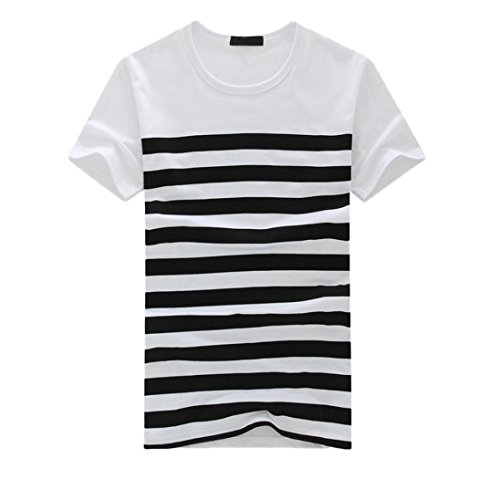 vermers Clearance Men's Stripe T Shirts Fashion Casual Printed Short Sleeve Pullover Tops Tee(L, (Wash Hipster Jean)
