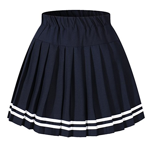 Girl`s Japan Elasticated Pleated Skirt Halloween Costumes(S, Blue White Stripes) -