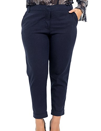 (Chicwe Women's Plus Size Linen Cropped Hem Turn-on Pants - Casual and Work Pants Trousers 24 Navy)