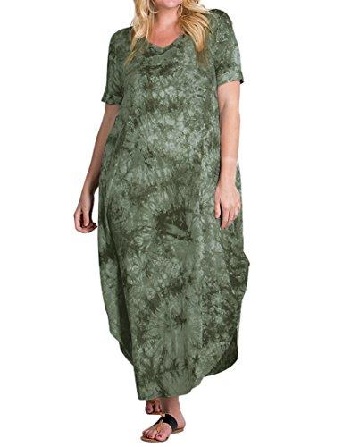 1840d338827 Rotita Womens Plus Size Short Sleeve V Neck Dress Casual Pregnant Loose  Maxi Dresses