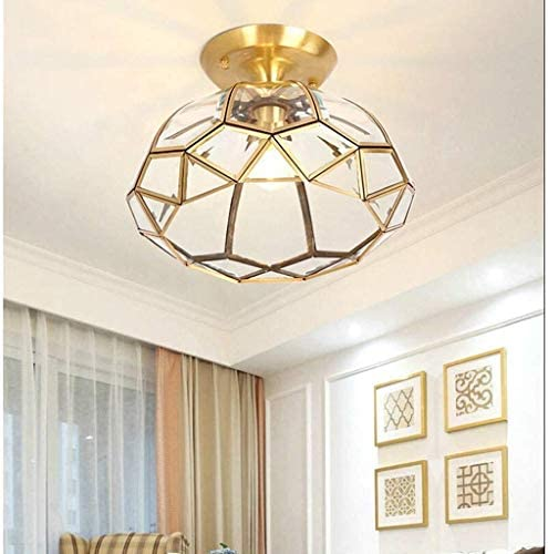 N/A XMMDD Copper Ceiling Lamp - Creative Glass Lampshade Ceiling Lamp, Geometric Design Lighting Decoration