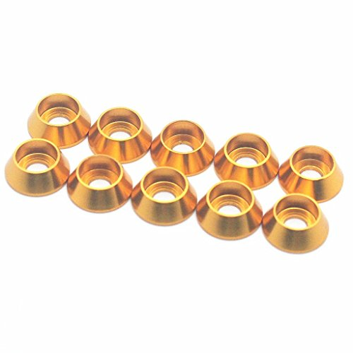 50PCS M4 Cone Washer Aluminum Alloy Cone Cup Head Screw Gasket Conical Countersunk Fender Washer (Gold) by JLM (Image #8)