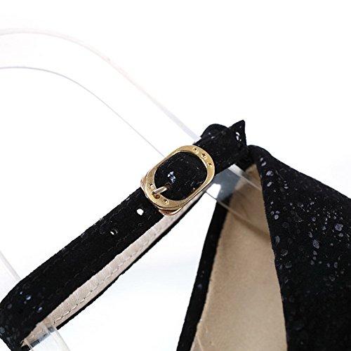 Nubuklederpumps Leder Toe aus Schwarz Round Womens Closed Heel 6 VogueZone009 UK High Stiletto qSp0zWx