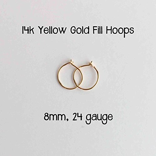 Everyday Hoop Earrings 14k Yellow Gold Fill 8mm, 24 gauge. Handmade Extra Thin Hoop Earrings