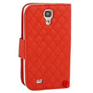 Generic Plaid Leather Case Cover Wallet Card Holder for Samsung Galaxy S4 i9500 Red