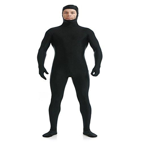 Mono Traje Ajustado Open Face Zentai Del Spandex Catsuit Unisex Piel Para Hombre - Negro, M