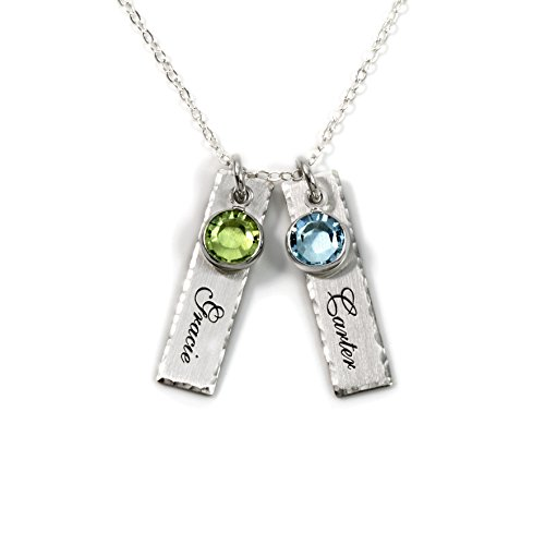 (Unity in Two Personalized Charm Necklace. Customize 2 Sterling Silver Rectangular Pendants with Names of Your Choice. Choose 2 Swarovski Birthstones, and 925 Chain. Makes Gifts for Her)