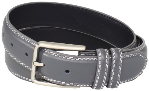 Stacy Adams Men's 35mm Genuine Leather Double Stitched Belt With Keepers, Grey, (Leather Snake Genuine Belt)