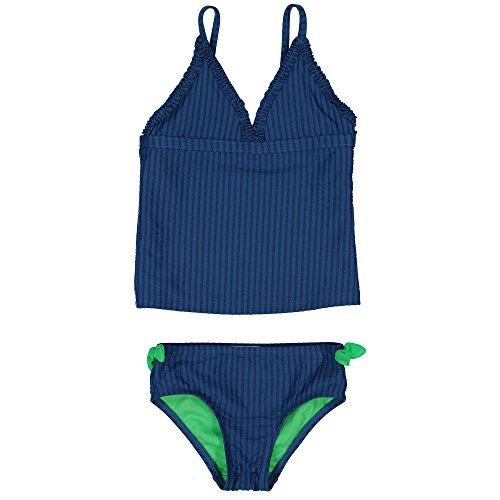 bf2b1a809289e Jessica Simpson Girls 2 PC Ruffle Tankni Swimsuit, Bikini Bottoms and Bag  Navy Blue 10