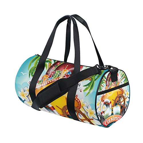 (YCHY Vector-Illustration-On-Casino-Theme-Roulette-142028629 Barrel Duffel Bag Sports Yoga Gym Fitness Bag Travel Weekender Bags for Men and Women)