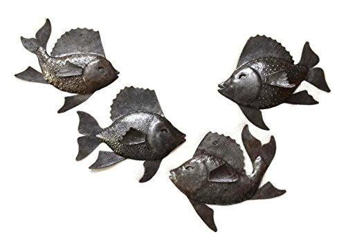 Haitian Metal - Nautical Fish, Set of 4, Wall Hanging Haitian Metal Decor 9.5