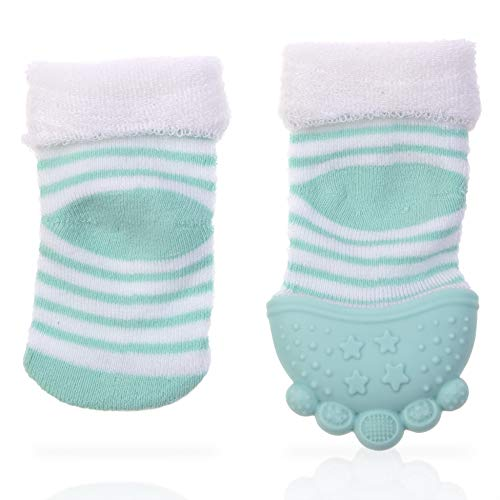 Nuby Soothing Teether Sock, Aqua Stripes