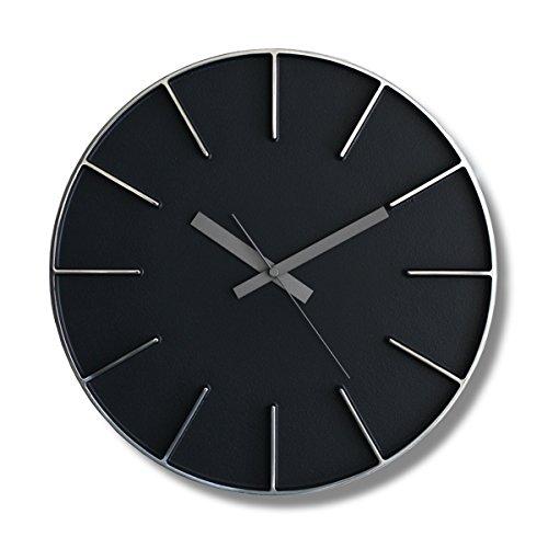 Lemnos レムノス edge clock エッジクロック Lサイズ カラー:ブラック AZ-0115 デザイン:AZUMI 置時計 壁掛け時計 掛時計 時計 ウォールクロック B01HRLS1KK ブラック ブラック